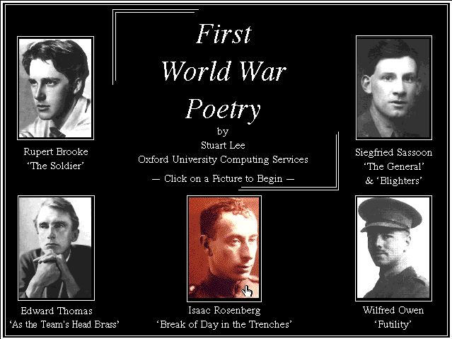 war poets brooke sassoon and rosenberg essay From apollinaire to rilke, and from brooke to sassoon: a sampling of war poets.